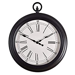ZHAS Indoor Metal Vintage Wall Clock Inspired Pocket Watch Style Wall Clock Corrosion Resistant Non-Deformation Home Decoration Black Iron - White Dial (14 Inches) 0