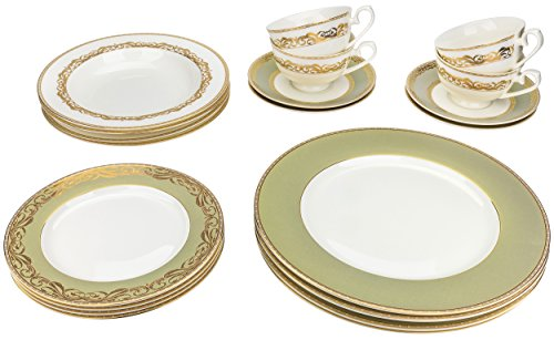 Majestic Porcelain 6430, 24K Gold-Plated Dinnerware Set, Dinner Service for Four, 20-Piece Set: 4 Dinner Plates, 4 Soup Plates, 4 Dessert Plates, 4 Tea Cups with 4 (24k Gold Soup Plate)