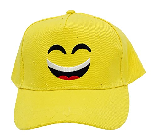 Emoji Embroidered Baseball Cap, Yellow with Big Smile