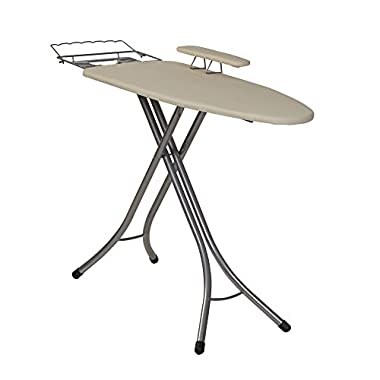 Household Essentials 971840-1 Wide Top 4-Leg Mega Ironing Board with Adjustable Height and Bonus Sleeve Board - Natural Cotton Cover