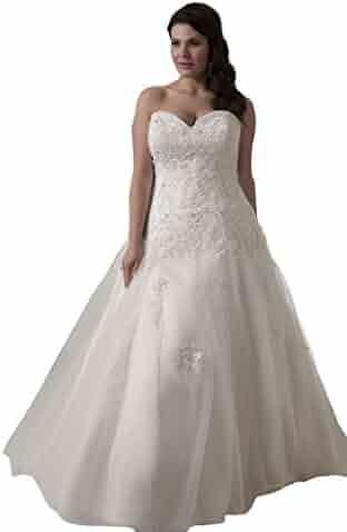 170cbd7d760d kelaixiang Sweetheart Lace Appliqued A line Plus Size Wedding Dresses  Bridal Dress