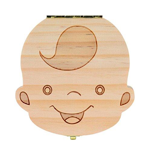 AMA(TM) Kids Baby Boy Girl Milk Teeth Wood Storage Box Organizer Holder Keepsake (B (Spanish)) (Deer Costume Kids)