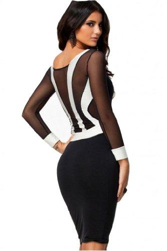 WIIPU Sexy Black Long Sheer Sleeve Midi Cocktail Dress White Patchwork Bodycon(J2-2)