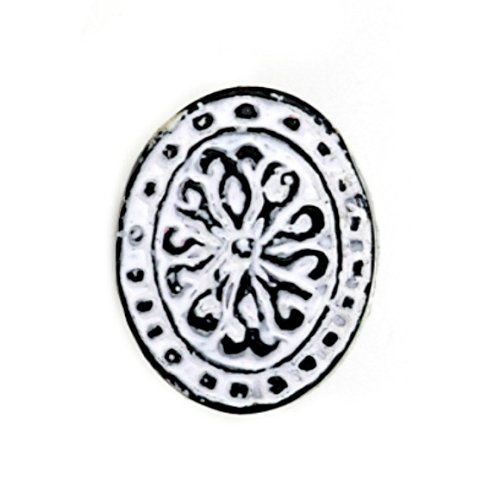 Cabinet Knob Decorative Oval - Set of 4 Oval Floral Metal Cabinet Knob in Distressed White Finish