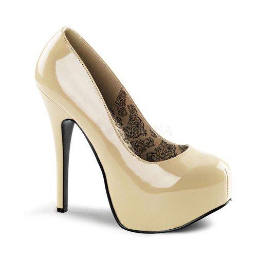 Women's 5 3/4 Inch Heel Concealed Platform Pump (Cream - 5 Inch Stiletto High 3/4 Heel