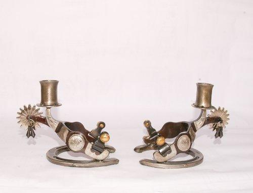 older Set (Brown) (Iron Western Candle Holder)