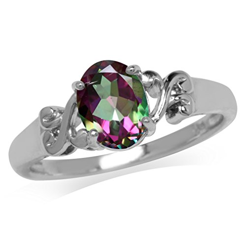 1.35ct. Mystic Fire Topaz White Gold Plated 925 Sterling Silver Victorian Style Solitaire Ring Size 8