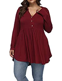 Women's Plus Size Henley V Neck Button Tunic Tops Long...
