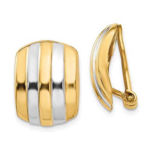 - 14K Yellow Gold Ribbed Non-Pierced Omega Back Earrings (Approximate Measurements 17mm x 12mm)