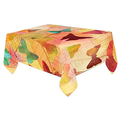 InterestPrint TableCloths Rectangle Oil-Proof Spill-Proof Table Cover, 60x84 Inch Butterflies on Skeleton Leaves, Autumn