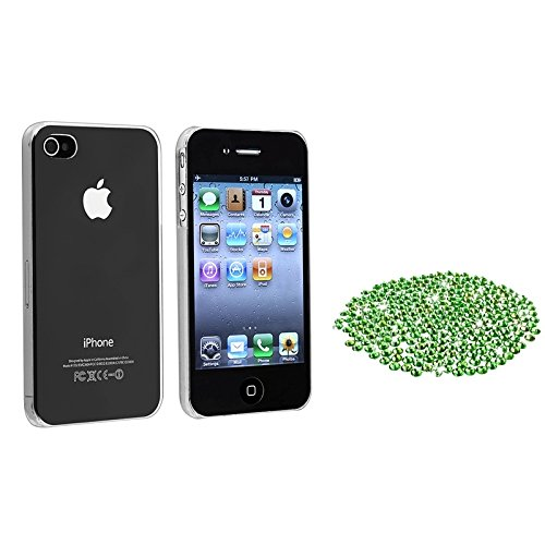 Everydaysource® DIY Set Compatible with Apple® iPhone® 4 / 4S - Clear Clip-on Slim Case + 3mm Flat back Bling Round Rhinestones (400pcs Green)