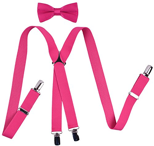 YJDS Boys' Suspenders and Bow Tie Sets Solid Clips Hot Pink 26 -