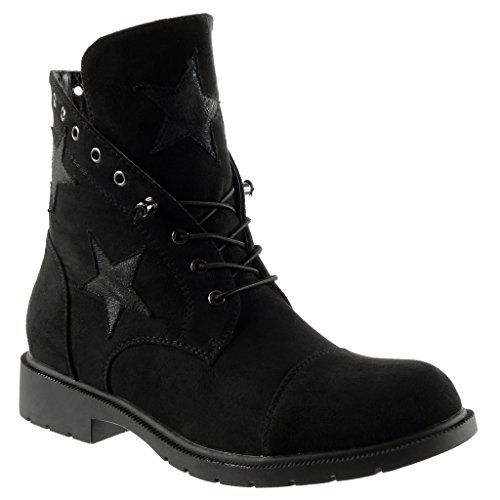 CM boots Block boots biker Shoes Booty 3 Desert Boots Women's Ankle stars Black Heel combat Angkorly Fashion qIwv47cZ