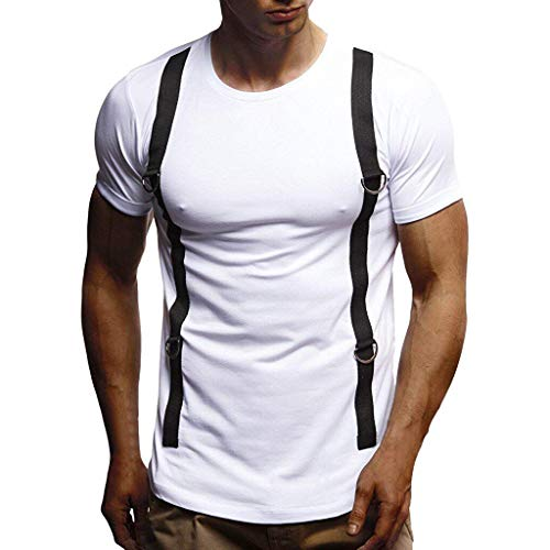 iHPH7 T-Shirts Men Loose-Fit Short-Sleeve Crewneck T-Shirts Men Summer T-Shirt Short Sleeve Crew Neck Muscle Basic Top Slim Fit Tee S-XXL 2- White -