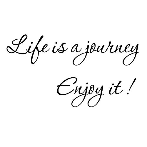 ZSSZ Life is A Journey Enjoy It - Quote Wall Decal Inspirational Vinyl Wall Lettering Stencil Handwriting Poster Positive Words Art Letters Sticker ()