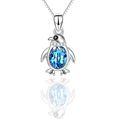 (Blue Penguin Necklace for Girls Women Girlfriend Daughter, 925 Sterling Silver Mini Pendant for Girls Birthday Cute Animal Crystal Necklace with Swarovski Element Aquamarine)