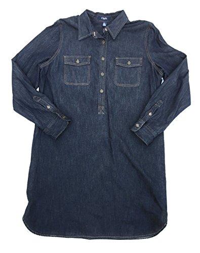 Chaps by Ralph Lauren Women's City Park Denim Shirtdress, Dark Rinse (Lauren Flap Pocket Jeans)