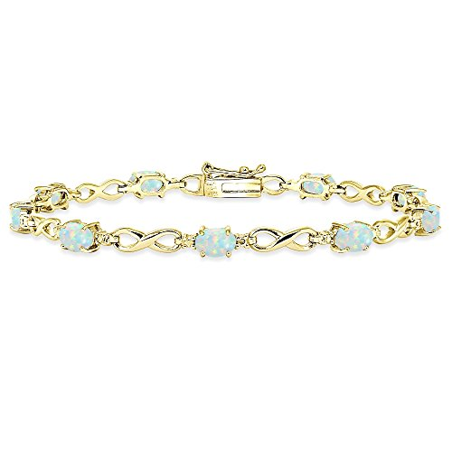 Bracelets Oval Opal (Yellow Gold Flashed Sterling Silver Simulated White Opal Oval Polished Infinity Classic Tennis Bracelet)