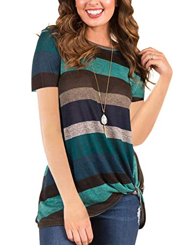HUHHRRY Green Medium Tunic Tops Crewneck Stripe Color Block Tee Shirt Striped Casual Blouse