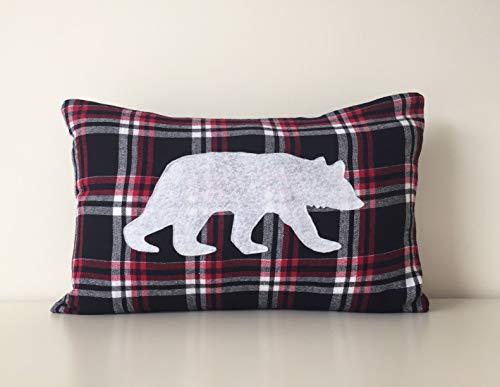 Bear Silhouette Buffalo Plaid Flannel Pillow Cover, 12x18