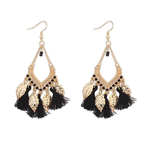 Wensltd 1 Pair Bohemian Europe And The United States Ethnic Style Hollow Beaded Tassel Earrings (Black-2)]()