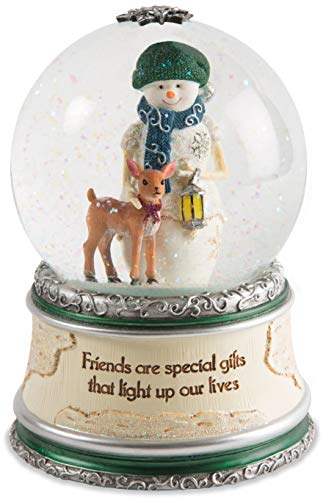 Pavilion Gift Company Pavilion-Friends are That Light Up Our Lives-Winter Wonder Land Snow Snowman & Deer Figurines 6 Inch Musical Water Globe Beige