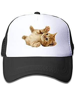 Boy&Girls Red Mesh Caps Trucker Baseball Hat Cute Cat Playing