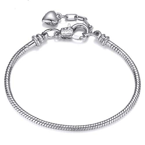 - NanGate Heart Snake Chain Charm Bracelets Base Chain DIY Brand Bracelets Jewelry Accessories,Silver Lobster,19cm