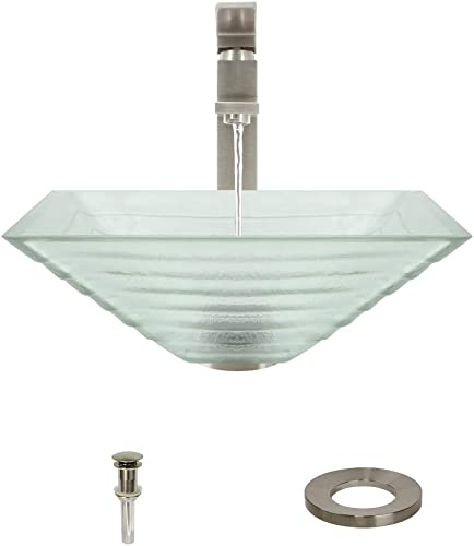 604 Brushed Nickel Bathroom 721 Vessel Faucet Ensemble Bundle – 4 Items Vessel Sink, Vessel Faucet, Pop-Up Drain, and Sink Ring