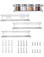 Fasmov 4 Pack Spice Racks Spice Rack Organizer for Cabinet, Door Mount, or Wall Mounted - Hanging Racks For Cabinet, Cupboard or Pantry Door - Spice Shelf
