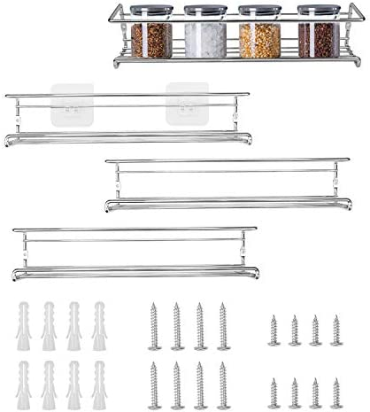 Fasmov 4 Pack Spice Racks Spice Rack Organizer for Cabinet, Door Mount, or Wall Mounted – Hanging Racks For Cabinet, Cupboard or Pantry Door – Spice Shelf