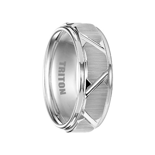 BLAINE White Tungsten Wedding Band with Etched Finish Dia...