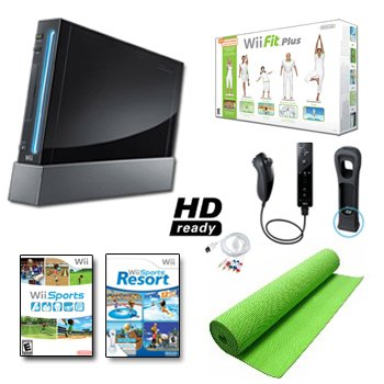 Nintendo Wii Black System HD Ready + Wii Fit Plus, Balance Board Mat Bundle (Number Wii)