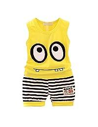 XuBa 2pcs Boy Girl Kids Summer Tank Top Suits Cartoon Pattern Tops and Pants yellow 80cm(M)