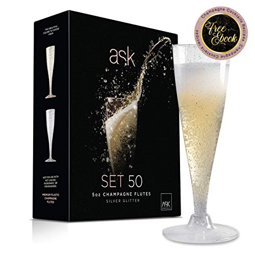 50 Silver Glitter Plastic Champagne Flutes | 5 Oz Hard Plastic Toasting Clear Glasses | Disposable perfect for Wedding Party Cocktail Cups | PLUS: FREE CHAMPAGNE COCKTAILS EBOOK