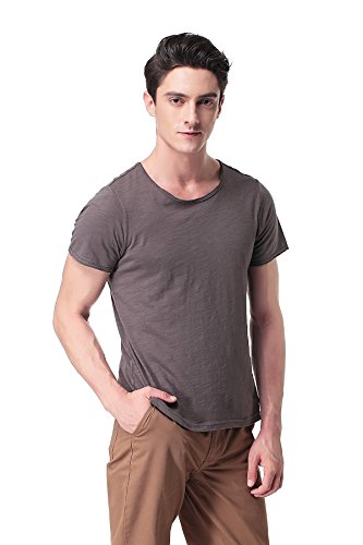 Pau1Hami1ton Men's Slub Cotton Crew Neck Short-Sleeve T-Shirt T-04(M, Grey)