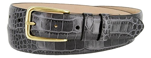 (Andrea Genuine Italian Calfskin Leather Dress Belt for Women (Alligator Gray, 38))