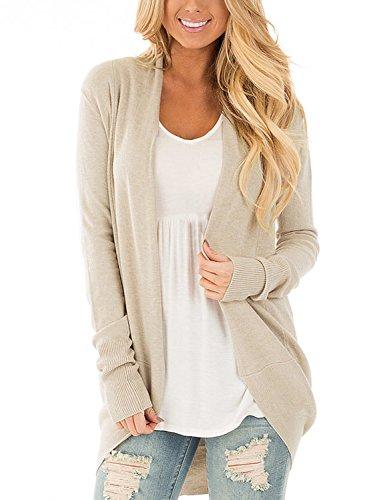Beige Womens Cardigan (LookbookStore Women's Beige Casual Long Sleeve Open Front Knitwear Basic Sweater Cardigan Outwear S(US 4-6))