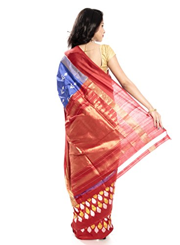 Mandakini — Indian Women's Pochampally - Handloom - Ikat Pure Silk Saree (Blue-Reddish Orange ) (MK355) by Mandakini (Image #4)