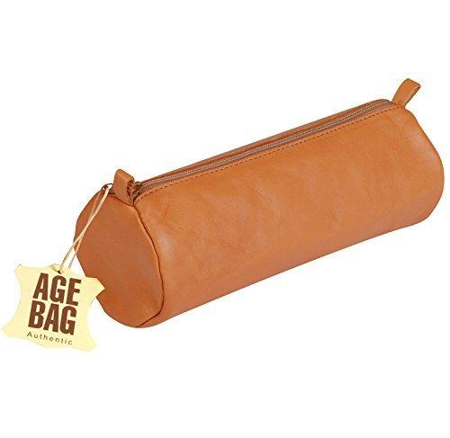 Clairefontaine AGE BAG 77032C Trousse Grande Ronde longueur 22 x 8 cm de diam/ètre en v/éritable cuir dagneau Noir