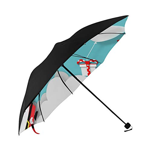 Travel Clear Umbrella Paper Art Gift Box Santa Underside Printing Large Foldable Umbrella Boy Umbrella Adult Parasol Umbrella With 95% Uv Protection For Women Men Lady (Best California Umbrella Cnas)