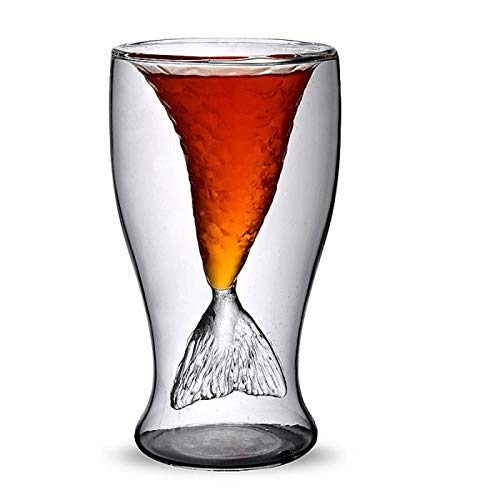 Best Quality - Cocktail Glass - Creative Mermaid Cocktail Glass Cup 100ml Wine Double Wall Glasses Funny Whiskey Vodka Shot Glass Cute Lady Beer Mug - by ABYSTEPS - 1 -