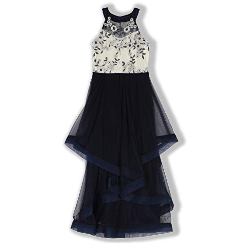 Speechless Girls' Big Formal Maxi Party Dress with Illusion Yoke and Wide Hem, Navy -