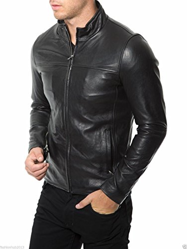 Mens Leather Jacket Bomber Motorcycle Biker Real Lambskin Leather Jacket for ()