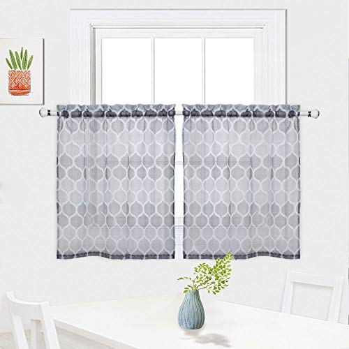(Haperlare Grey Moroccan Sheer Tier Curtains for Kitchen, Lattice Pattern Short Bathroom Window Curtain, Trellis Design Half Window Voile Kitchen Cafe Curtains, 28