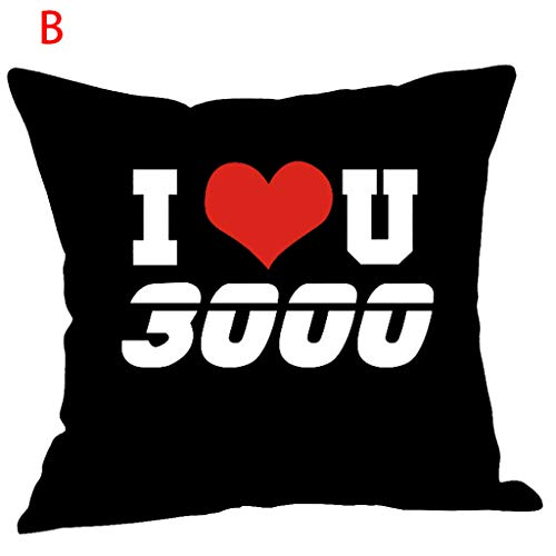 Qingell I Love You Three Thousand Times Printing Cotton Linen Pillow Case Cushion Cover Sofa Home Decor 18