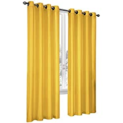 Regal Home Collections 2 Pack Semi Sheer Faux Silk Grommet Curtains - Assorted Colors (Yellow)