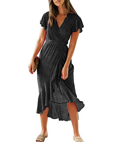 Chuanqi Womens V Neck Polka Dot Short Sleeve Boho Wrap Dress Summer Beach Party Vintage Long Maxi Dress with Belt Black