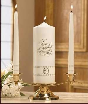 Candle - Wedding - Unity Set - Two Shall Become One - Gold (One Two Unity Candle Become)