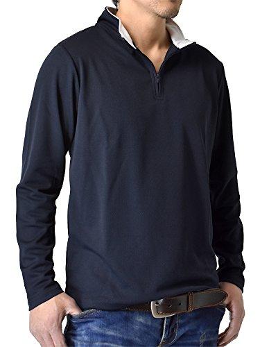 (アルージェ) ARUGE ドライ 吸汗速乾 長袖 Tシャツ ハーフジップ ゴルフウェア ロンT ムジ 無地 メンズ / D8M